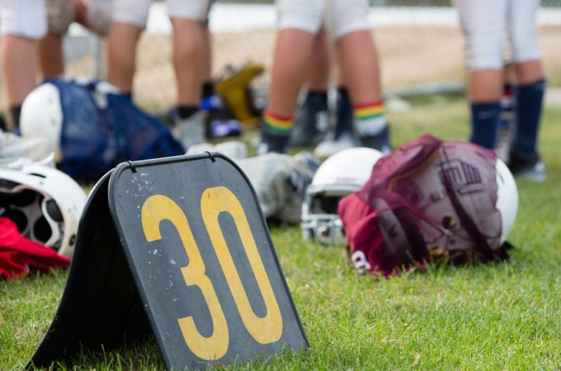 Football Equipment on the Field