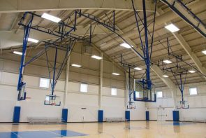 Gymnasium with basketball hoops